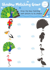 Shadow matching game of cute bird animals for preschool kids activity worksheet layout in A4 colorful printable version. Vector Illustration.