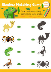 Shadow matching game of desert animals for preschool kids activity worksheet layout in A4 colorful printable version. Vector Illustration.