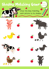 Shadow matching game of farm animals for preschool kids activity worksheet layout in A4 colorful printable version. Vector Illustration.