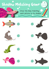 Shadow matching game of freshwater animals for preschool kids activity worksheet layout in A4 colorful printable version. Vector Illustration.
