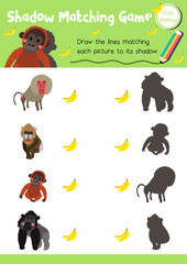 Shadow matching game of primate monkey animals for preschool kids activity worksheet layout in A4 colorful printable version. Vector Illustration.