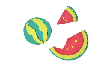 Watermelon paper cut on white background - isolated