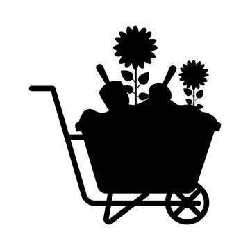 wheelbarrow with beautiful flower icon over white background. vector illustration