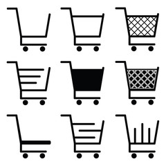 collection of vector shopping cart icons