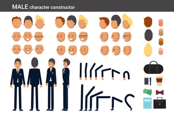 Male character constructor for different poses. Set of various men's faces, hairstyles, hands, legs and accessories. Vector flat style illustration.