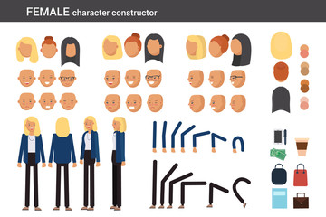 Female character constructor for different poses. Set of various women's faces, hairstyles, hands, legs and accessories. Vector flat style illustration.