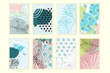 Universal floral posters set. Creative hand drawn textures with palm leaves. Tropical madness cards for wedding, anniversary, birthday, Valentin's day, party invitations.
