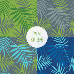 Tropical palm leaves, jungle leaves seamless vector floral pattern. Set of Seamless exotic background with tropical leaves. Vector illustration.