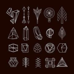 Set of minimal geometric shapes.Trendy hipster linear symbols, icons and logotypes. Ethnic aztec patterns. Geometric decor items. Vector illustration.