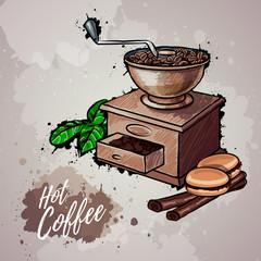Hand drawn illustration of coffee mill