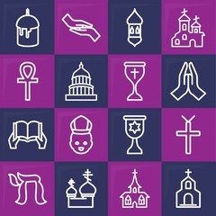Set of 16 faith outline icons