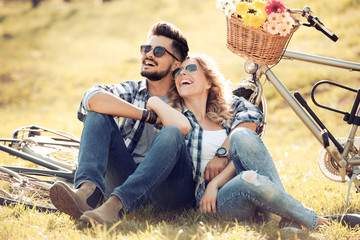 Couple in love in summer