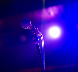 Close up of microphone in concert hall