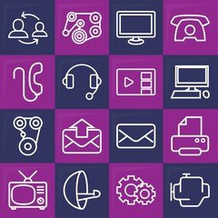 Set of 16 communication outline icons