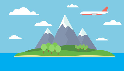 Cartoon view of the island in the sea with mountain landscape with red flying airliner with trees on the hills and snow on the peaks under a blue sky with clouds - vector