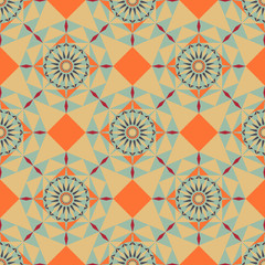 Seamless geometric pattern with arabic ornament can used for tile, wallpaper and textile. Vector illustration with clipping mask,  EPS10.