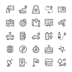 Simple icon set of navigation items in thin line style. Vector symbols.