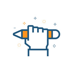 Hand with pencil icon. Education, testing vector symbol.