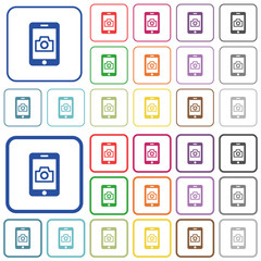 Mobile photography outlined flat color icons
