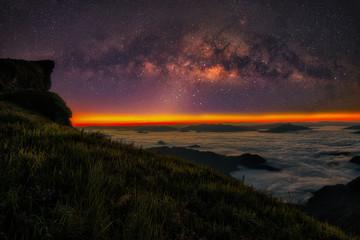 Milky way galaxy with stars and morning light on Phu Chi Fa mountain, Chiang Rai, Thailand