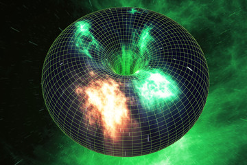 Abstract speed tunnel warp in space, wormhole or black hole, scene of overcoming the temporary space in cosmos. 3d rendering