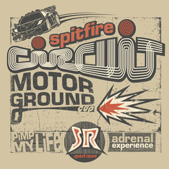 Motor circuit vintage illustration with lettering