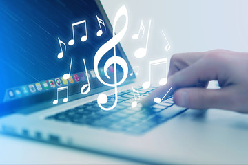 Concept of listenning music on a device - Technology concept
