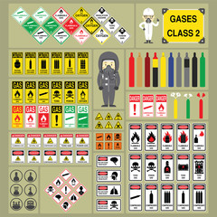 Dangerous Goods and Hazardous Materials - Set of Signs and Symbols of Gases Classification