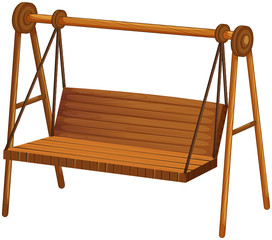Wooden swing on white background