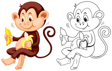 Animal outline for monkey eat banana