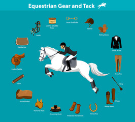 Woman Riding Jumping Horse in show outfit. Equestrian Sport Equipment Infographic Items. Gear and Tack accessories.