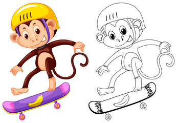 Animal outline for monkey on skateboard