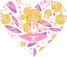 Cute Cartoon Yoga Girl
