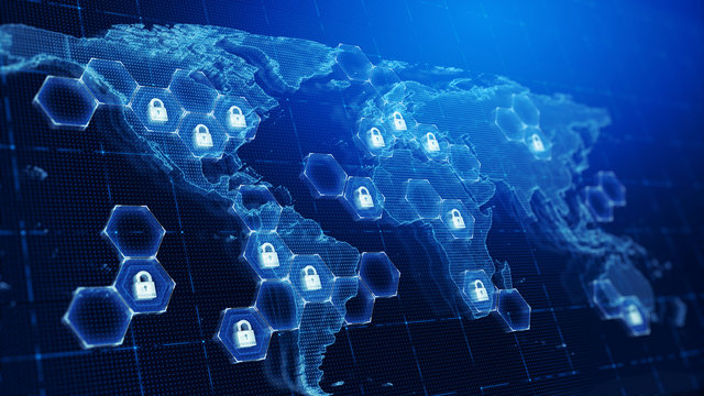 Techology world map and padlocks icons -Technology security concept background. 3d render