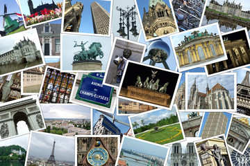 Collage of many photographs of cities and travel destinations in Europe