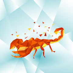Polygonal illustration with scorpion