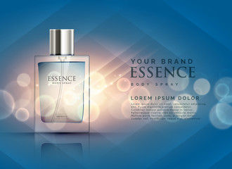 essence perfume ads concept with transparent bottle and bokeh light background