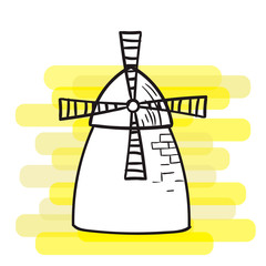 Windmill on a bright background, a black outline, the subject of agriculture