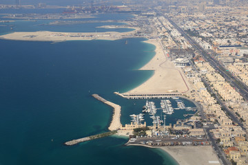 Dubai Jumeirah Jumeira Strand Insel Luftaufnahme Luftbild