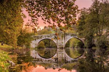 Galicia Orense Allariz  Puente Romano de Vilanova Amanecer
