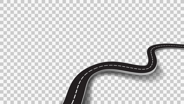 Winding Road With Transparent Shadow Template