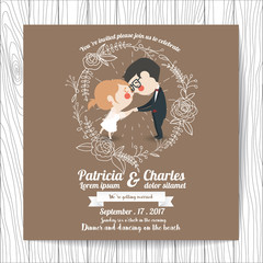 Wedding invitation card  templates, Cartoon Character Bride holding hand and blossom on brown background