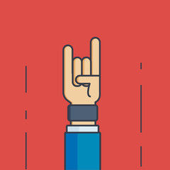 Businessman with Rock and Roll Hand Sign - Vector Illustration