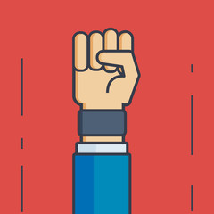 Businessman with Fist  - Vector Illustration