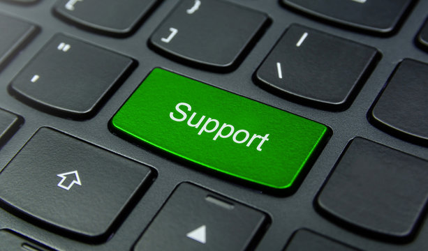 Close-up the Support button on the keyboard and have Green color button isolate black keyboard