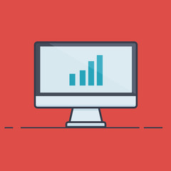 Computer with Graph in Flat Line Design - Vector Illustration