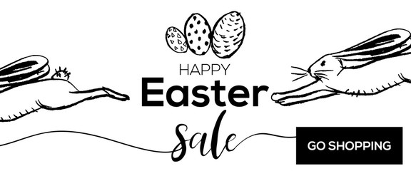 Easter sale banner background template with hand drawn texture background. Go shopping. For greeting card, ad, promotion, poster, flyer, blog, article, social media. Vector illustration.
