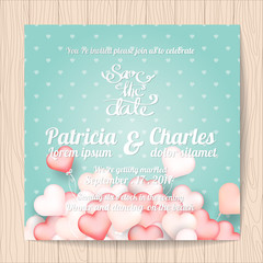 Wedding invitation card templates, Sweet heart balloon background