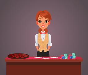 Smiling woman casino croupier character. Vector flat cartoon illustration