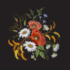 Camomiles and roses embroidery. Beautiful bouquet of chamomiles, roses. Classic embroidery pattern for clothes